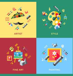 Digital blue red artist icons vector