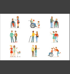 disabled people and friends helping them set vector image