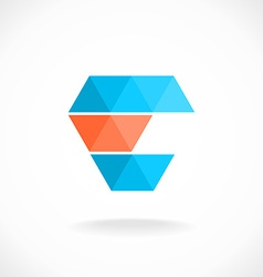 E letter logo template Color triangles style vector image