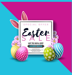 Easter sale with color painted egg vector