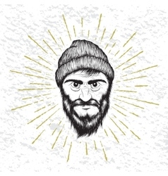 Face of bearded man dressed in hat vector image