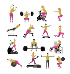 Fitness and workout exercise in gym set vector