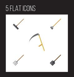 flat icon garden set of shovel tool harrow and vector image