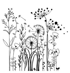 Flowers and grass on white collection rustic vector