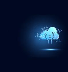 Futuristic blue cloud with pixel digital vector