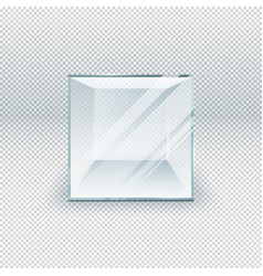 Glass cube isolated on transparent template vector