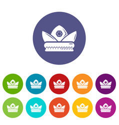 gold crown icons set color vector image