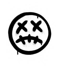 Graffiti scary sick emoji sprayed in black vector