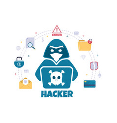 Hacker using computer server to activity hacked vector