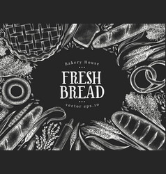 hand drawn bakery design template bread on chalk vector image