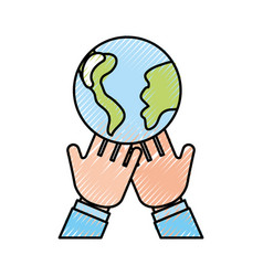 Hands human with world planet earth icon vector
