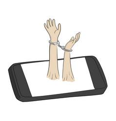 Hands in handcuffs sink in smartphone vector
