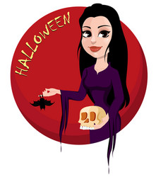 Happy halloween party beautiful lady in gothic vector