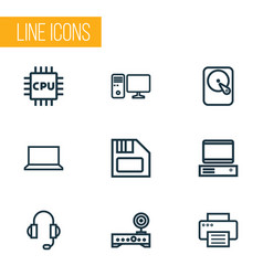 Hardware outline icons set collection of computer vector