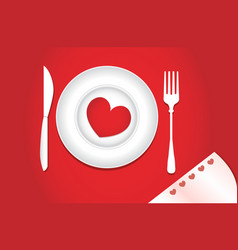 Heart on a plate for dinner a romantic evening vector