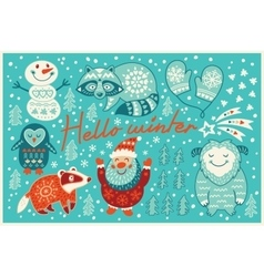 Hello winter card in cartoon style vector image