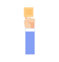 Human hand in business suit attach sticky note vector