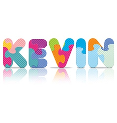 KEVIN written with alphabet puzzle vector
