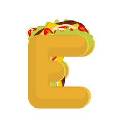 Letter e tacos mexican fast food font taco vector