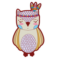 line color cute owl animal with feathers design vector image