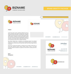 love balloons business letterhead envelope and vector image