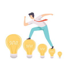 Man walking on light bulbs searching for creative vector