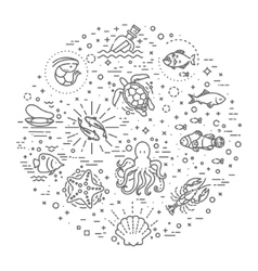 Marine life icon set Nautical design elements vector