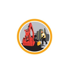 Mechanical Digger Construction Worker Circle vector