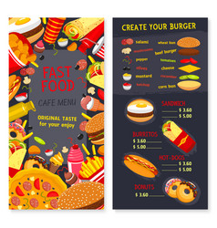 Menu set for fast food snacks and desserts vector