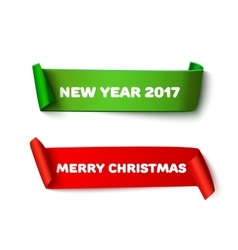 Merry Christmas paper roll banners with realistic vector