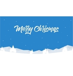 Merry Christmas tree and winter landscape vector