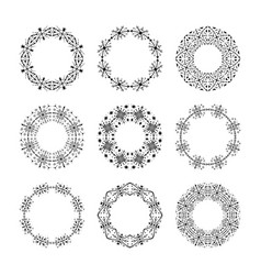 monochrome traditional tribal round frames vector image