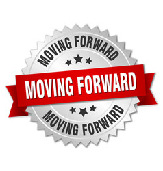 Moving forward round isolated silver badge vector