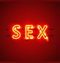 Neon banner sex text vector