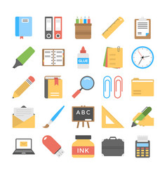 Office and stationery flat icons pack vector