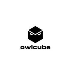 owl cube logo design concept vector image
