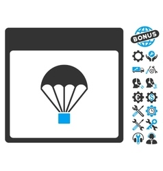 Parachute Calendar Page Icon With Bonus vector image