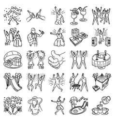 Party set icon doodle hand drawn or outline icon vector
