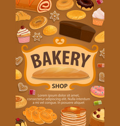 Pastry or bread confectionery food bakery shop vector