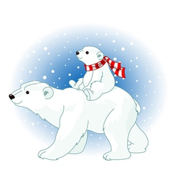 Polar bear mom and baby vector