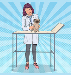 Pop art female vet examining pug dog vector