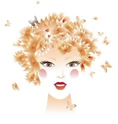 Portrait with flowers and butterflies vector