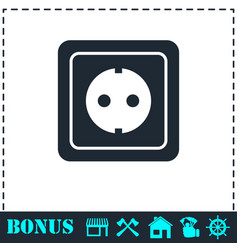 power socket icon flat vector image