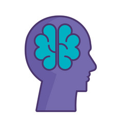 profile with brain storming vector image