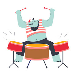 Rhino playing drums music instrument at zoo rock vector