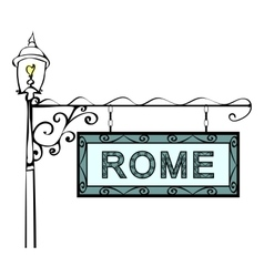 Rome retro vintage pointer lamppost vector