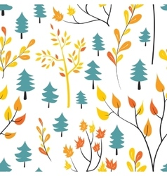 Seamless autumn forest pattern vector