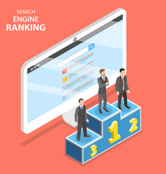 Search engine ranking flat isometric vector