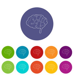 sensors on human brain icon outline style vector image