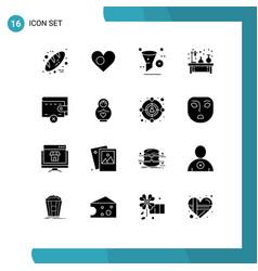 Set 16 commercial solid glyphs pack for lab vector